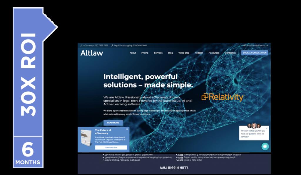 Altlaw saw a 30X return on their investmentwith Pixel Lab.